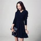 Tie-Waist Wrap-Front A-Line Mini Dress 1596