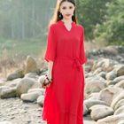 Split-neck Linen-blend Dress 1596