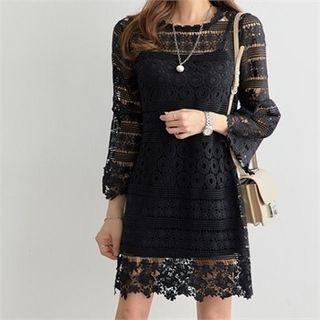 Set: Crochet-Lace Mini Dress + Long Camisole Top 1065013596