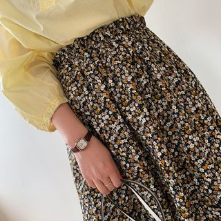 Image of Floral Print Midi A-Line Skirt Floral - One Size