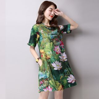 Mandarin Collar Floral Printed Short Sleeve Dress 1050524509