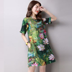 Mandarin Collar Floral Printed Short Sleeve Dress 1596