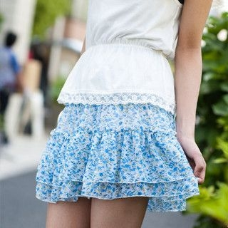 Picture of ageha@shibuya Floral Print Ruffled Skirt Blue - One Size 1022589690 (ageha@shibuya Apparel, Womens Skirts, Japan Apparel, Japan Skirts)