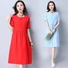 Elbow-Sleeve Shirred Dress 1596