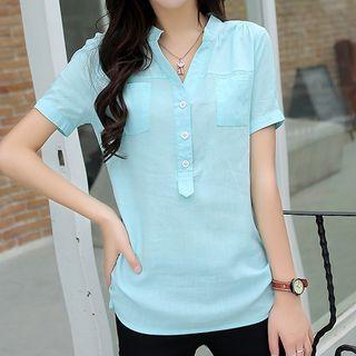 V-Neck Short-Sleeve Blouse 1050578109