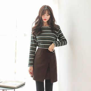 Round-Neck Striped Ribbed T-Shirt 1054796410