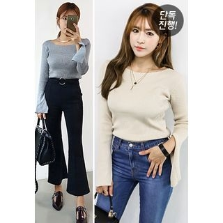 Slit-Sleeve Ribbed Knit Top 1053002639
