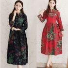 Floral Print Mandarin Collar Midi Dress 1596