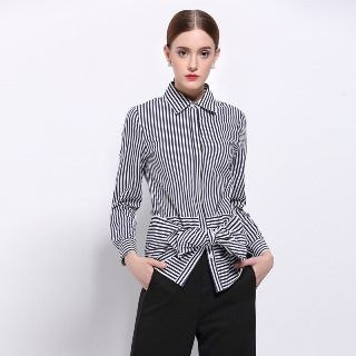 Image of Bow-Accent Striped Blouse