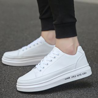 Image of Platform Stitched Lettering Sneakers