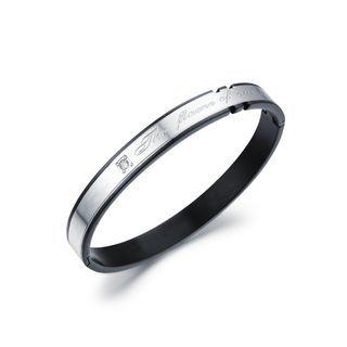 Fashion Atmospheric Plated Black Geometric Titanium Titanium Bangle With Cubic Zirconia Black - One Size