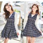 Plaid V-Neck Sleeveless A-Line Dress 1596