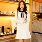 Long-Sleeve Frilled-Trim Bow-Accent Dress 1596