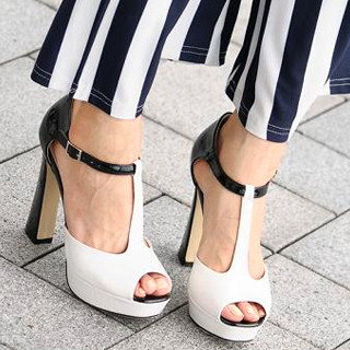 T-Strap Peep-Toe Pumps