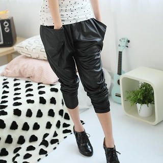 Buy eFashion Wet-Look Harem Pants 1023018441
