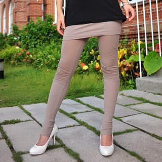 Inset Skirt Leggings Taupe - One Size