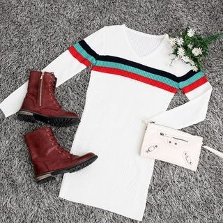 V-Neck Ribbed Knit Dress 1052984109