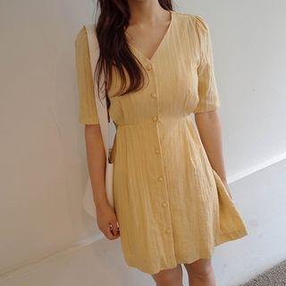Short-Sleeve Tie-Waist Buttoned Cotton Mini Dress 1061281511