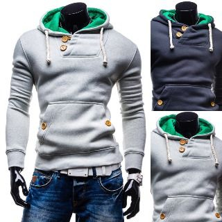 Image of Buttoned Drawstring Hooded Pullover