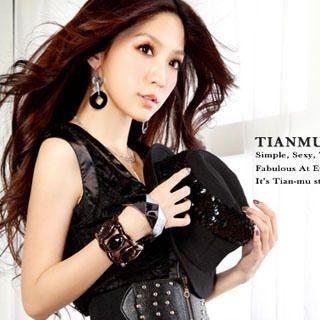 Buy Tian Mu Pleated Lace Dress Black – One Size 1022997885