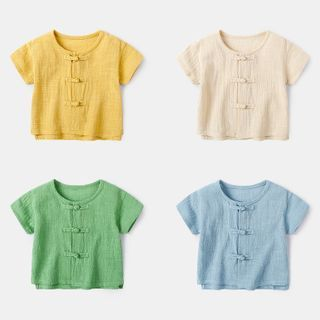 Image of Baby Knot Button Short-Sleeve Top