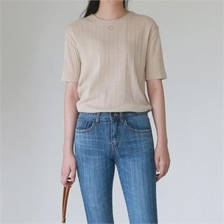 Round-Neck Ribbed Knit Top 1066393692