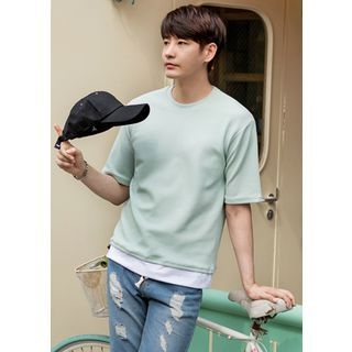 Layered-Hem Textured T-Shirt 1060206256