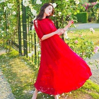 Short-Sleeve Tied Dress 1061142441
