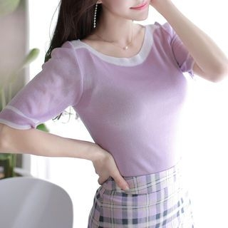 Contrast Boat-Neck Knit Top 1066038922
