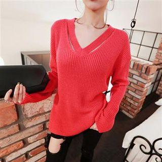 V-Neck Cutout Rib Sweater 1062753735