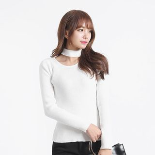 Choker-Neck Slim-Fit Ribbed Top 1059846265