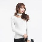 Choker-Neck Slim-Fit Ribbed Top 1596