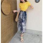 Plain Short Sleeve T-Shirt / Leaf Print Wide Leg Pants 1596