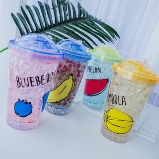 Printed Drinking Cup with Straw 1060092857