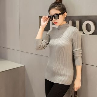 Mock Neck Ribbed Sweater 1055168090