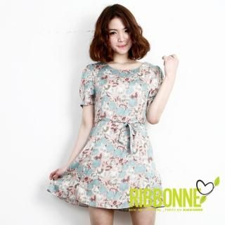 Buy Ribbonne Floral Print Puff Sleeve Dress 1022582889