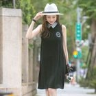 Sleeveless Striped Collar Embroidered Dress 1596