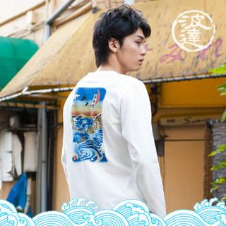Picture of Namitatsu Surfing Print Tee 1021375044 (Namitatsu, Mens Tees, Japan)