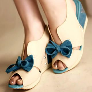 "Buy Kvoll Color-Block ""Bow"" Wedges 1022653735"