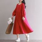 Long-Sleeve Frilled Dress 1596