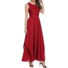 Plain Sleeveless Chiffon Maxi Dress 1596