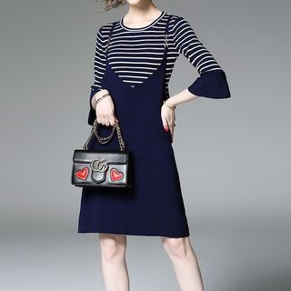Set: Striped Bell-Sleeve Knit Top + Pinafore Dress 1061930048