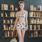 Set: Print Bikini Top + Swim Shorts + Cover-Up 1596