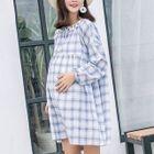 Maternity Long-Sleeve Plaid Dress 1596