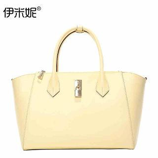 Genuine-Leather Lock-Accent Handbag 1035273720