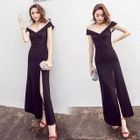Short-Sleeve Slit-Front Maxi Party Dress 1596