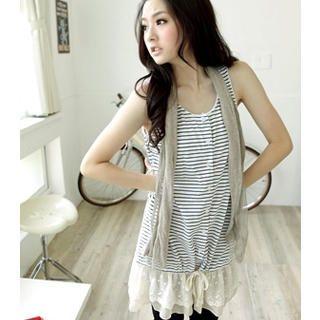 Buy OrangeBear Sleeveless Lace-Hem Stripe Dress 1022916996
