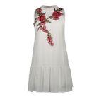 Flower Embroidered Sleeveless Open Back Chiffon Dress 1596