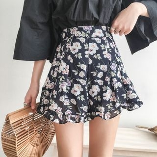 Micro Mini Skirt Floral Print Chiffon Mini Skirt