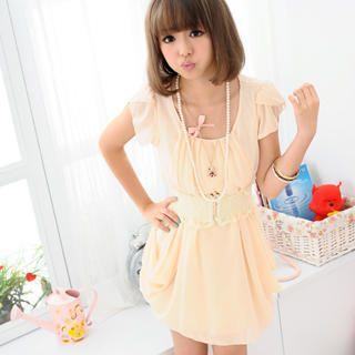Picture of 59 Seconds Set: Ruffle-Sleeve Draped Chiffon Tunic + Belt 1023039948 (59 Seconds Dresses, Womens Dresses, Hong Kong Dresses, Chiffon Dresses, Tunics)